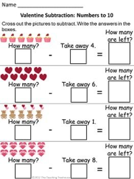 Valentine Themed Addition  Subtraction Worksheets Sums