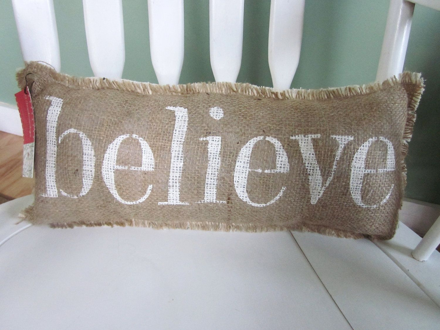 Shabby Chic Christmas Pillows : Believe burlap pillow,christmas pillow, shabby chic, french country decor, farmhouse decor ...