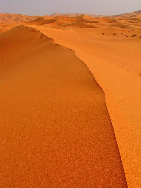 Ridge-Erg Chebbi Sand Dunes-Sahara Desert-Morocco    The ridge of one of the many dunes in the Erg Chebbi of the Sahara Desert in Morocco