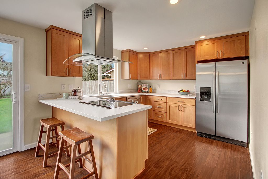 Durable, affordable and contemporary. Our Pecan Maple ... on Backsplash For Maple Cabinets  id=90571