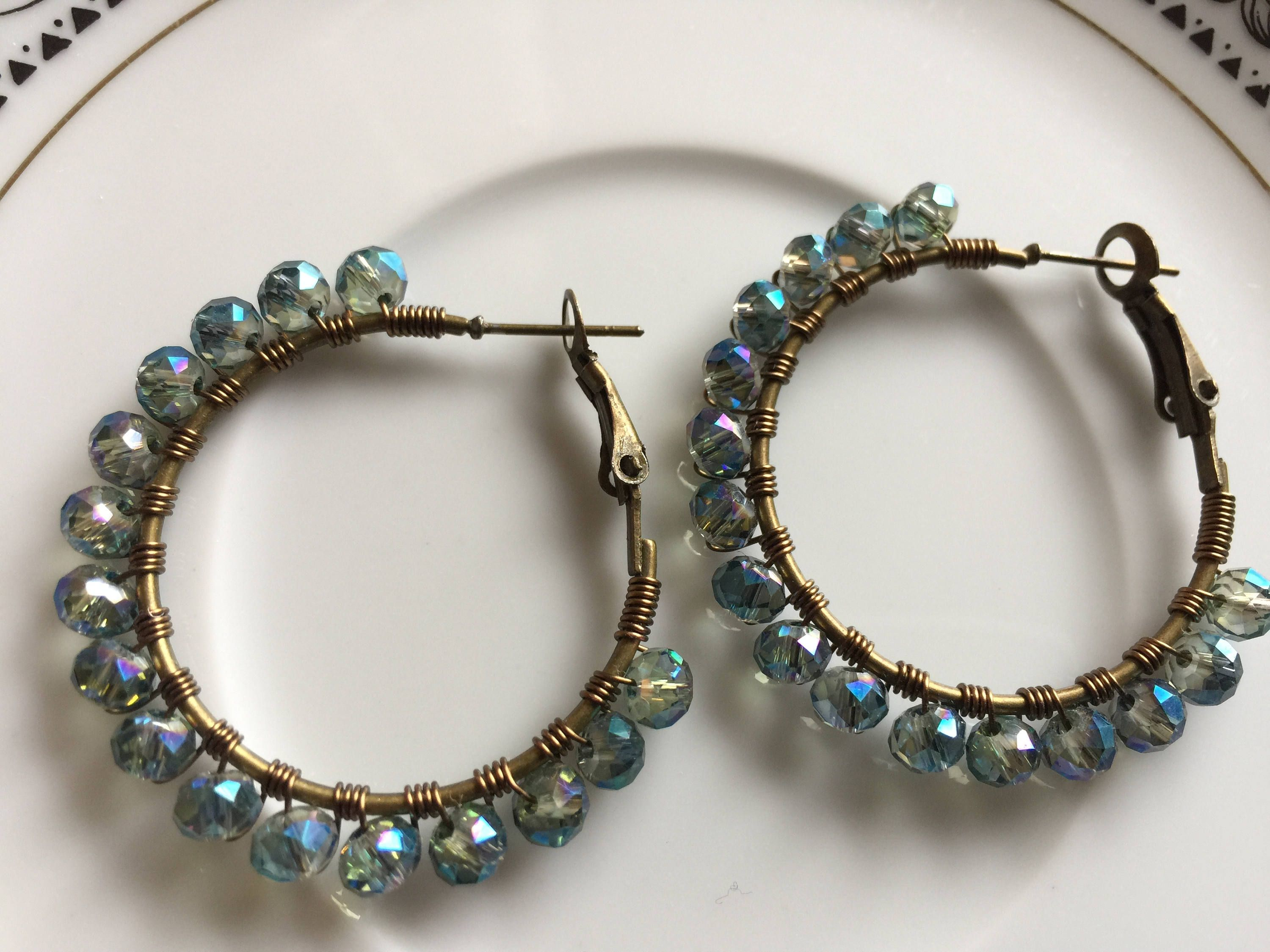 Blue hoops ,Crystal wire wrapped hoops, indian hoops, light blue ...