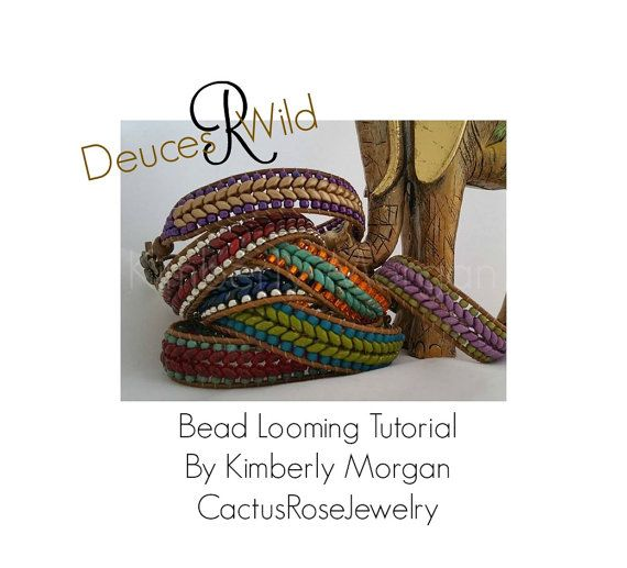 Deuces R Wild Bead Looming Tutorial 2 Versions, Leather Loom Work Country Western Bracelet Super Duo Seed Beads Wrap Bracelet Boho Chevron