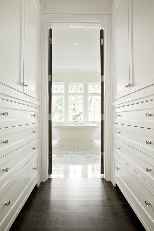 Built In Lined Hallway Into The Bathroom Interior