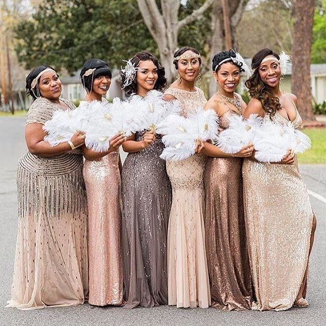 e5bfe34c4a4 Glamorous bridal party decked out in champage and gold mix and match  bridesmaids dresses from Adrianna Papell