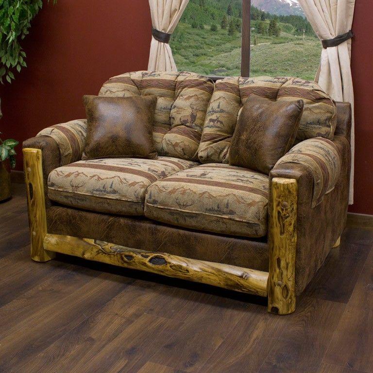Beartooth Aspen Log Trimmed Upholstered Loveseat Log