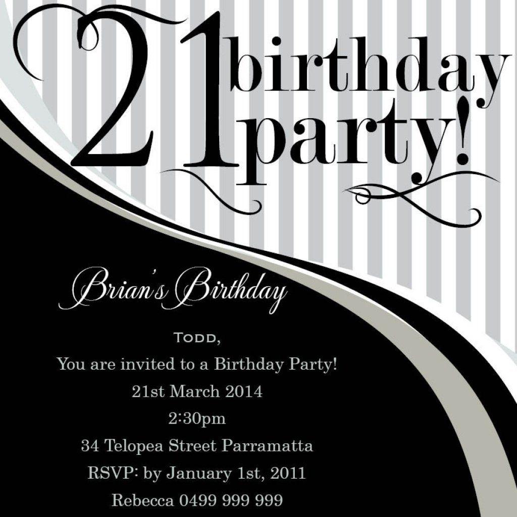 Male 21st Birthday Invitations 21st Birthday Invitations Party Invite Template 21st Invitations