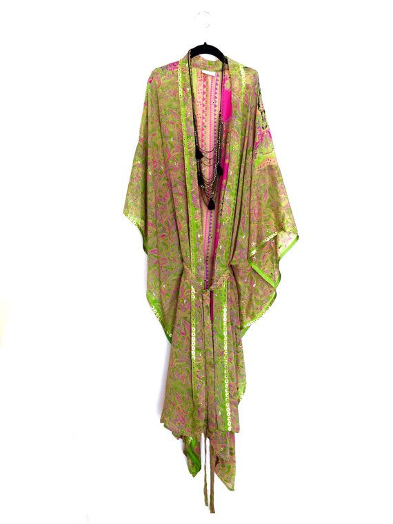 Silk kimono jacket / beach cover up / kaftan in lime by Bibiluxe