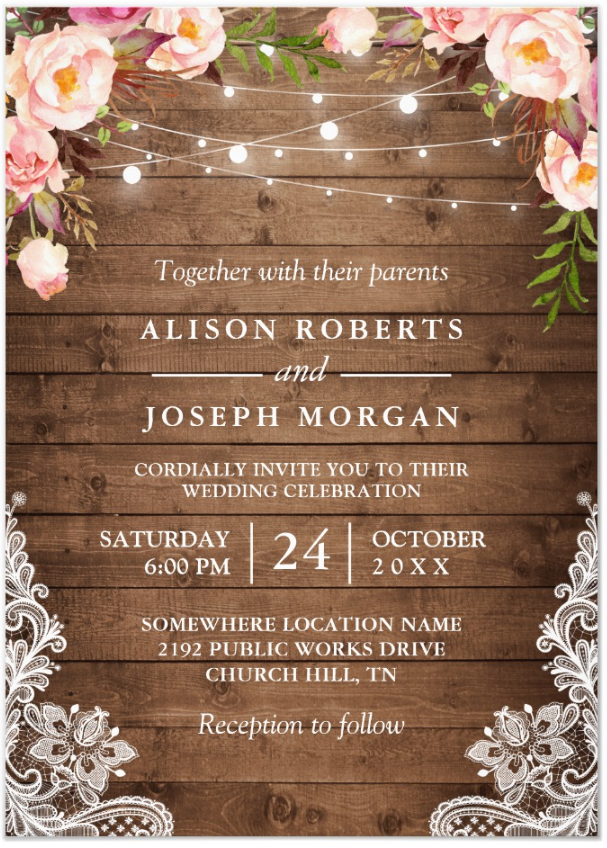 Personalized Rustic Wood Lace String Lights Lace Wedding Invitations