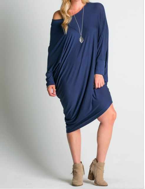 Midi Dress w/ Asymmetric Hem