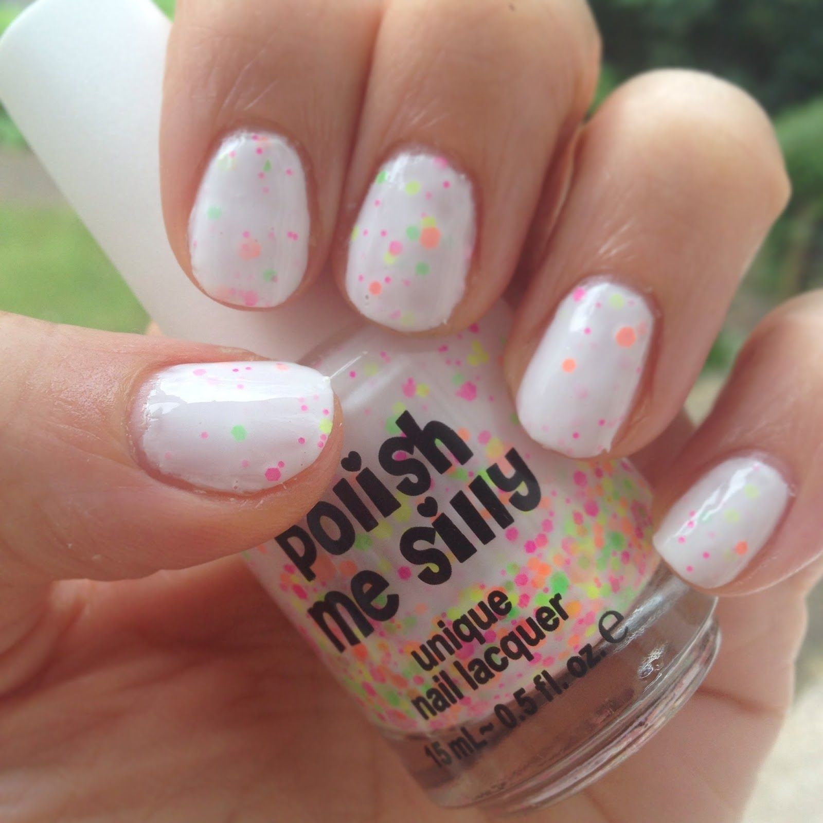 Polish Me Silly Neon Lights white jelly nail polish with neon ...