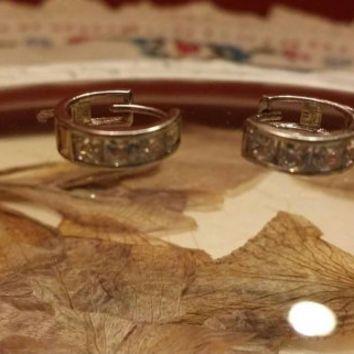 H Sterling Silver Clear Stone Small Hoop Earrings Pierced Ears Retro Vintage  Circle Round Stud Cuff Posts Modern Ladies
