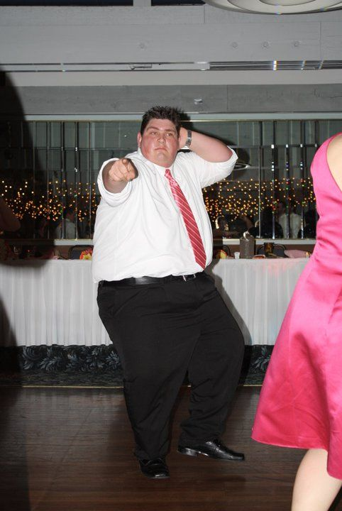 My son's new brother-in-law bustin' a move at the wedding reception.
