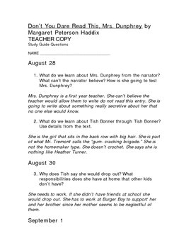 Don T You Dare Read This Mrs Dunphrey Quotes Sheepolover Study Guide Reading Teacher Guides