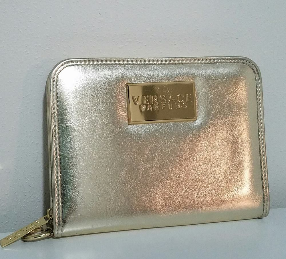 44930cd30d VERSACE PARFUMS Gold Metallic Wristlet Evening Bag Zip Around Purse  Preowned  VersaceParfums  Clutch  Ebay  Ebaystore  Isoldthisonebay   Favordesignsboutique ...