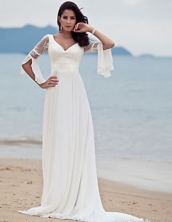 3 4 Sleeve Lace V Neck A Line Long Chiffon Casual Beach Wedding Dress Chiffon Wedding Dress Beach Wedding Dress Train Casual Wedding Dress