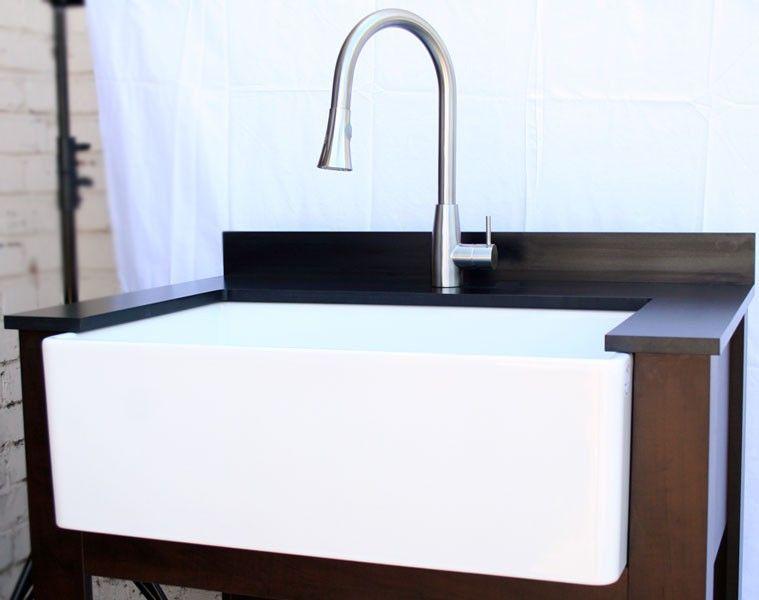 ALFI brand AB510 kitchen farm sink Installed
