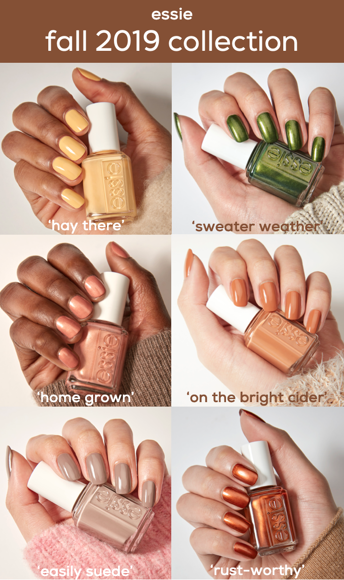 Introducing The Essie Fall 2019 Collection Of Six Autumn Nail Polish Shades Clockwise From Top Left Hay There A Autumn Nails Nail Colors Fall Nail Colors