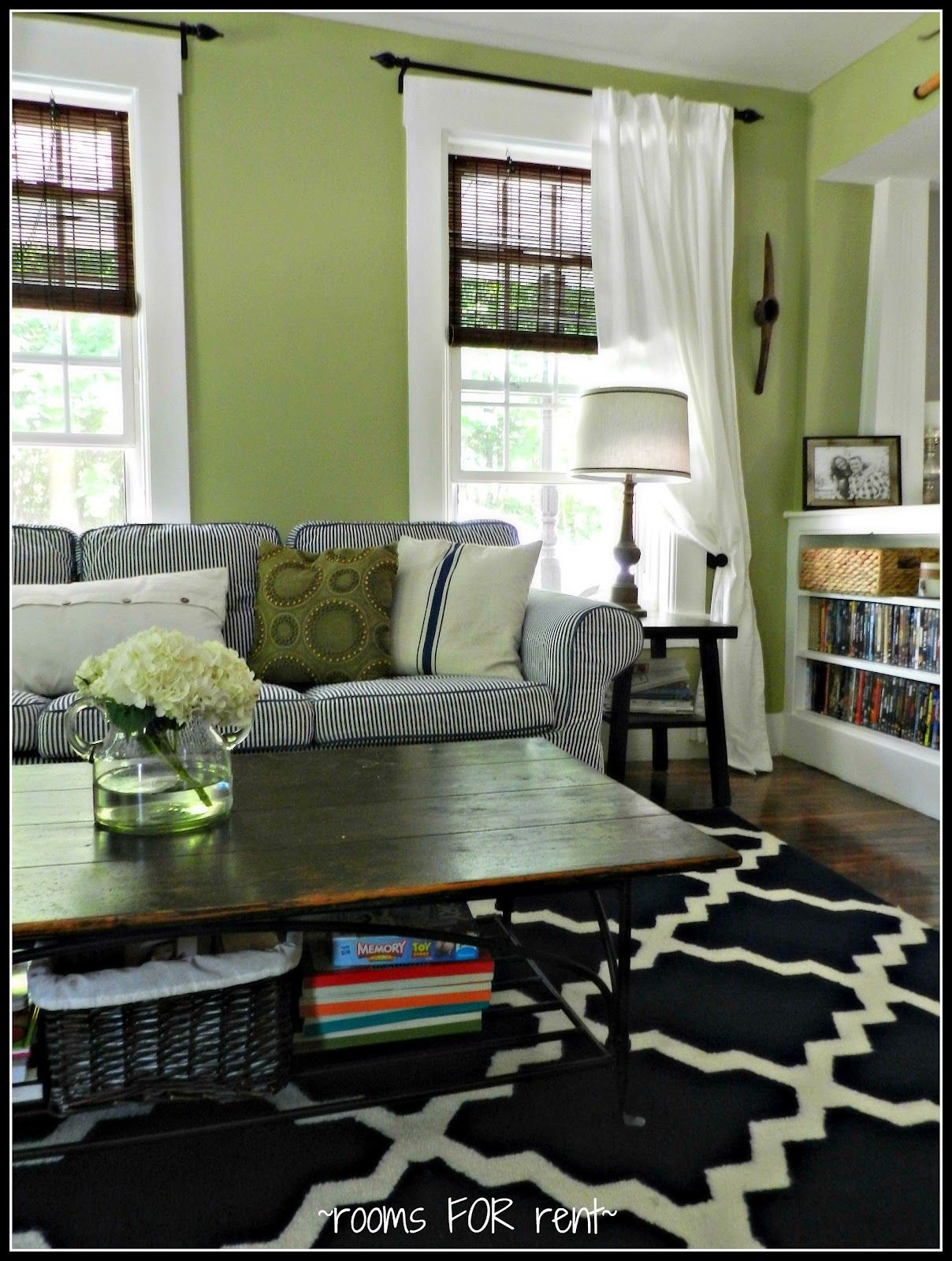 love the bright green walls with navy accents behr wasabi | Paint ...