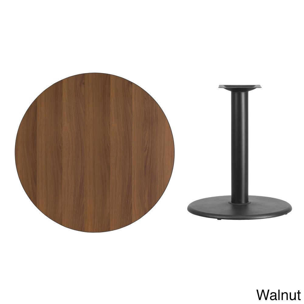 Flash Furniture 36 Inch Commercial Round Table Top And Base (Black Laminate)