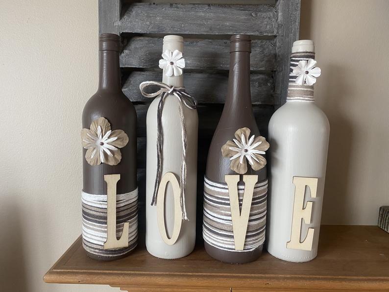 Decorated wine bottles | Etsy
