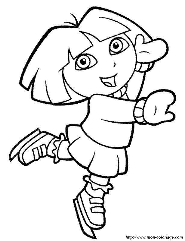 Colorear Dora La Exploradora Dibujo Patinaje Dora Coloriage Dora Coloriage Dessin Enfant