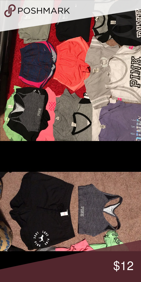 Assorted Nike and Pink clothing!! Assorted pink and Nike clothing!! Shirts $12, brand new sports bra $15, brand new shorts $18 Sizes small and medium Comment for purchase and I will make a separate listing for you! PINK Victoria's Secret Tops Tees - Short Sleeve