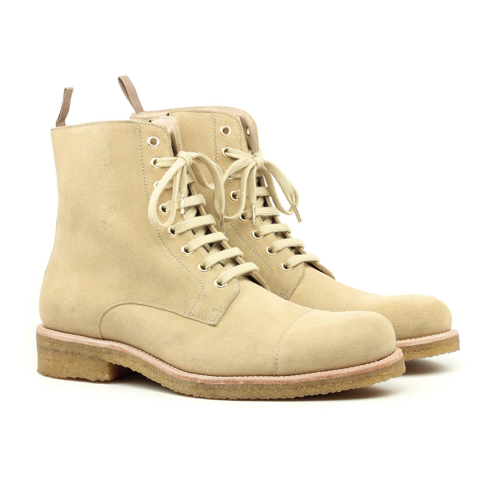 Suede combat boots, Beige boots
