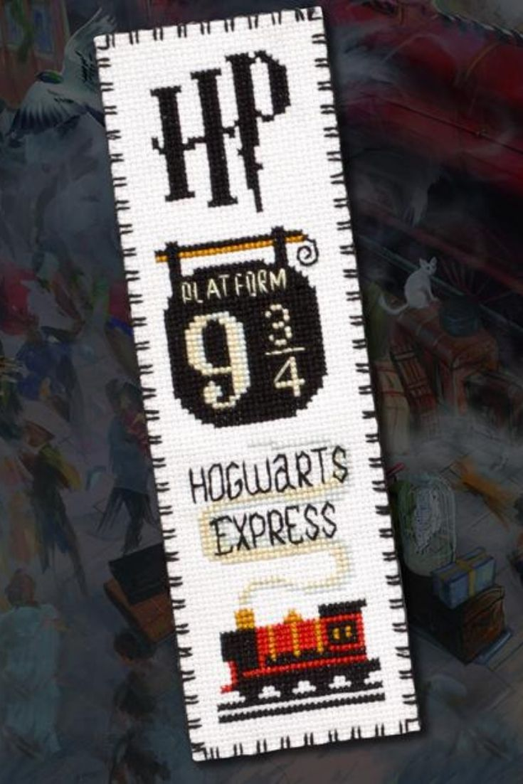 "Photo of Cross Stitch Bookmark Pattern ""Hogwarts Express: Platform 9 3/4 King's Cross Station"""