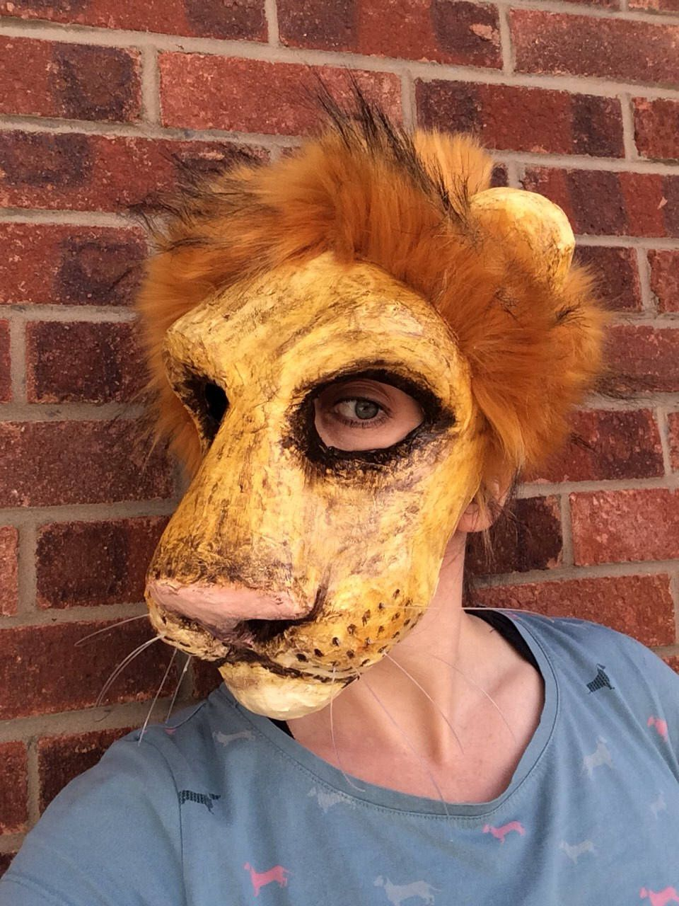 A personal favourite from my Etsy shop https://www.etsy.com/uk/listing/513415402/lion-paper-mache-animal-mask