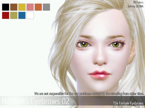maygamestudio: TS4 Eyebrows 02 For female / 10 Colors maysims(http://www.maysims.com) Sims by LEENA Download link