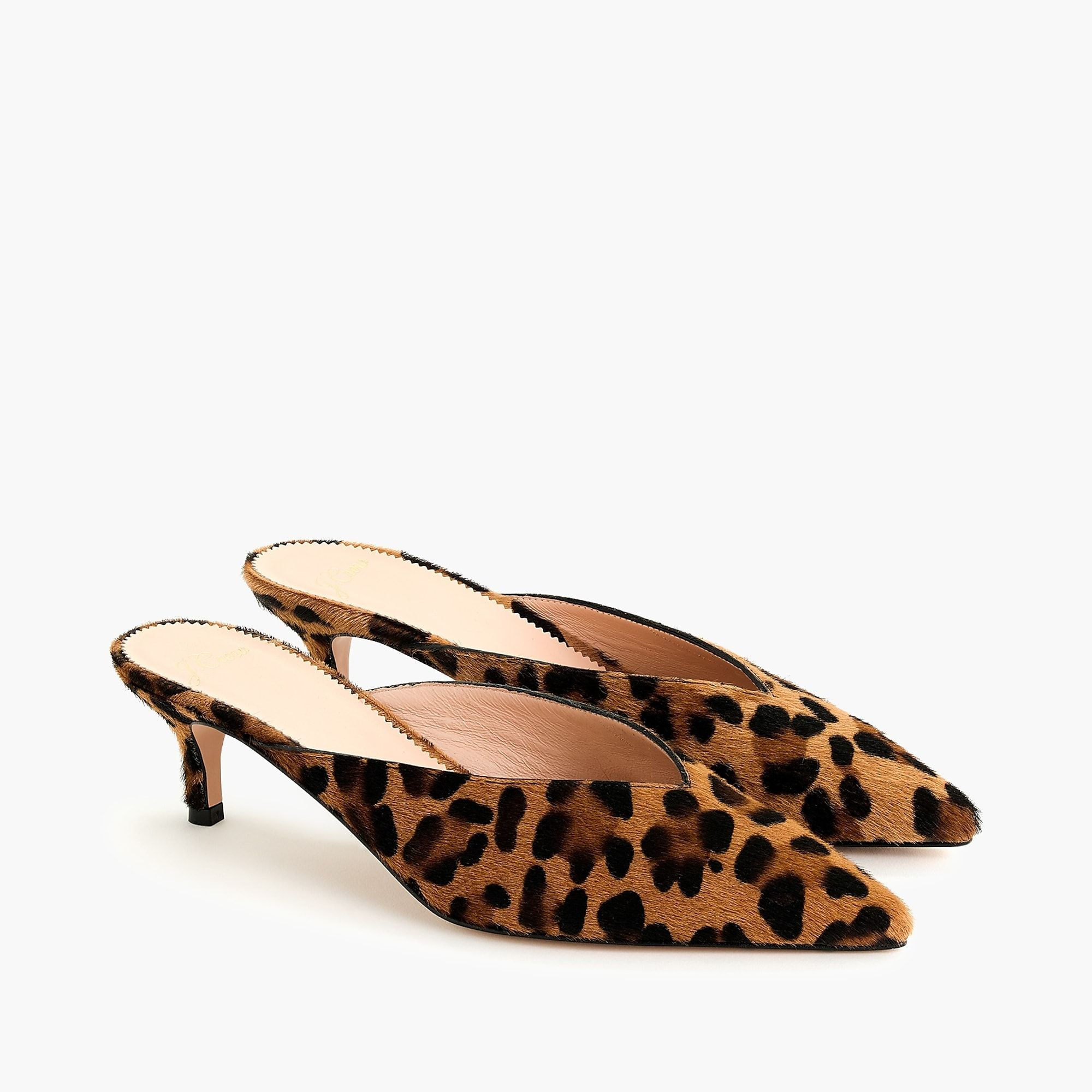 Meet Our Supermodern Take On The Classic Kitten Heel High Points A Chic Pointy Toe And Wildly Wearable Leopard C Kitten Heels Ankle Strap Sandals Flat Calves