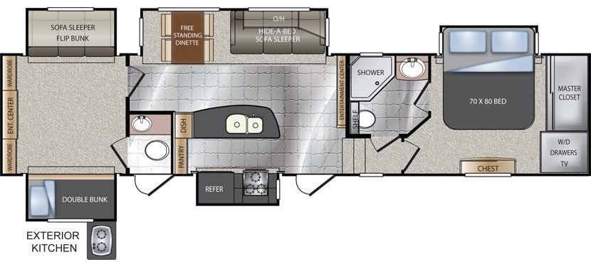 Keystone Rv 361tg Floorplan 2 Bed 2 Bath Keystone Rv Rv Rv Living Full Time