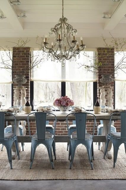 Chandelier Tolix Style Metal Chairs Reclaimed Farmhouse Dining Table Industrial Chic Love