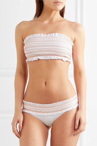 61175340227f5 Tory Burch - Costa Smocked Bandeau Bikini - White