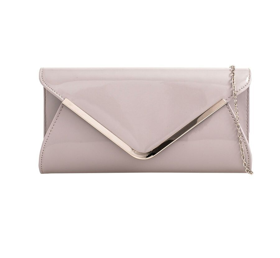 LADIES NEW PATENT GLOSSY ENVELOPE CLUTCH BAG