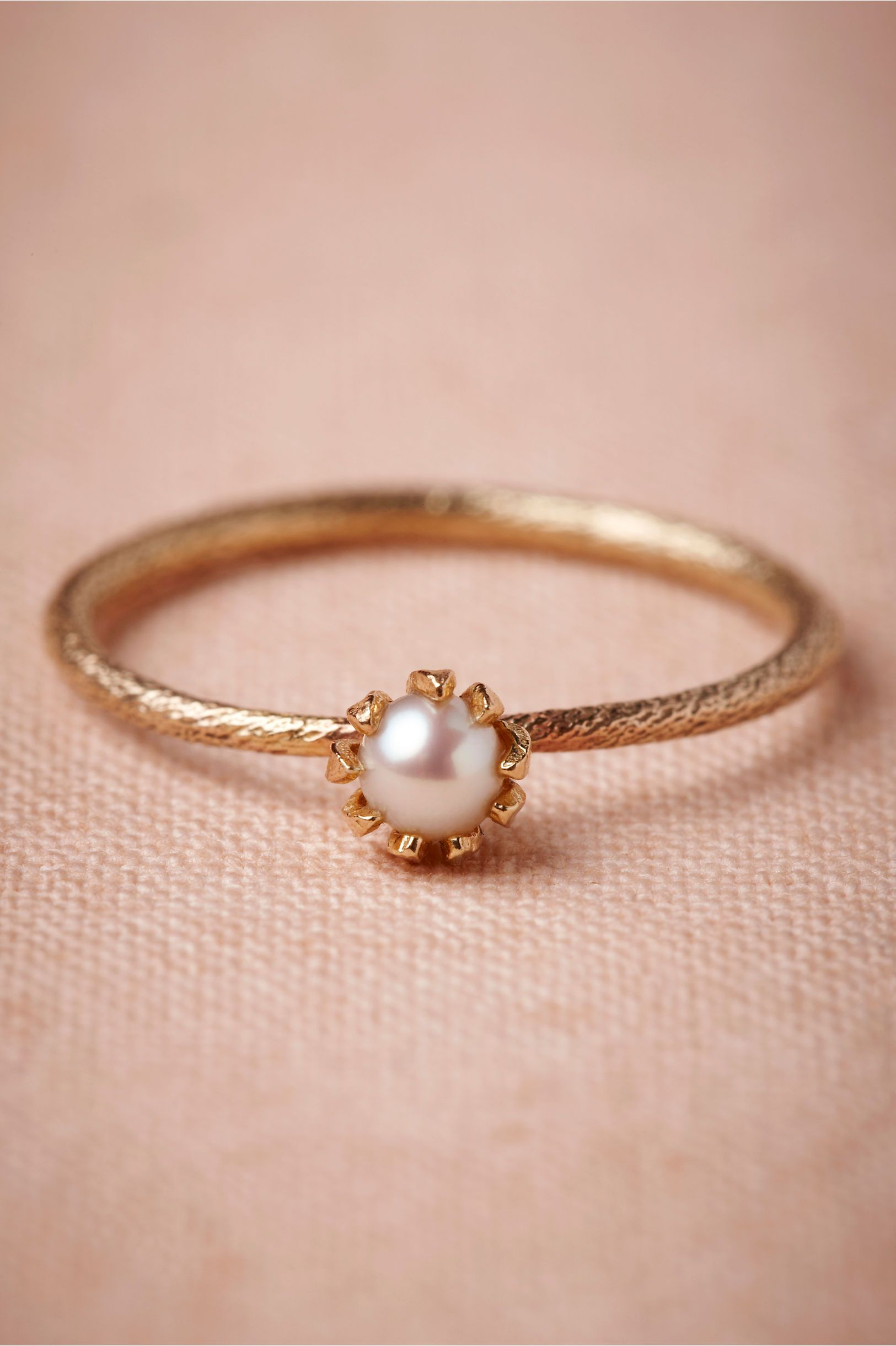 Mermaid's Coronet Ring is part of Fashion jewelry, Jewelry, Bridal jewelry, Pearl ring, Bling, Beautiful jewelry - Set in a crown of hammered gold prongs, an iridescent underwater gem is worthy of display out of the deep  Handmade by Alex Monroe  4mm diameter pearl  9K gold, freshwater pearl  UK