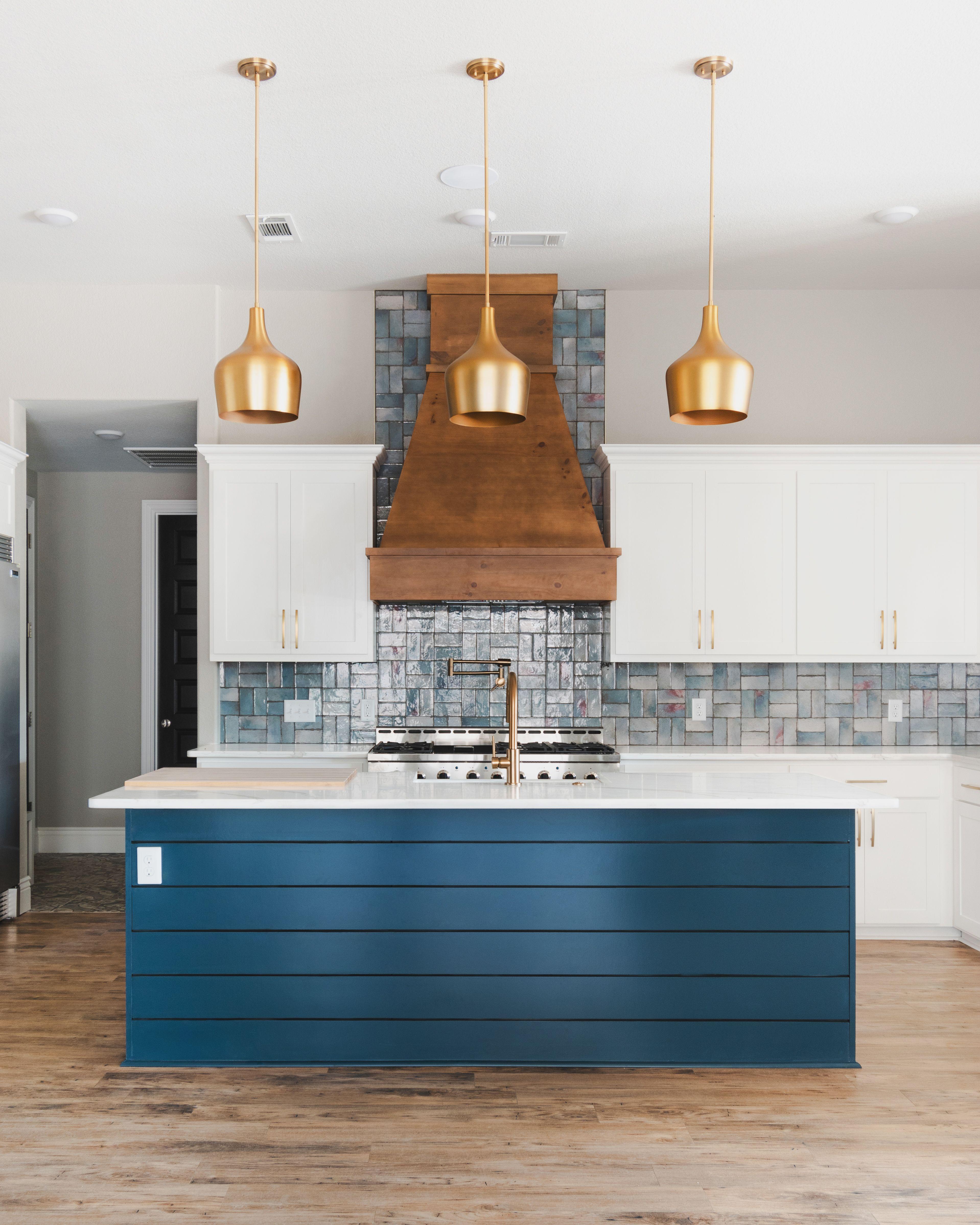 modern rustic kitchen with navy shiplap island gold pendant lights white quartz medium on kitchen island ideas white quartz id=81743