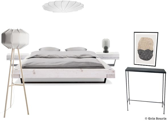 Planche tendance moodboard Chambre à coucher, ambiance scandinave - couleur tendance chambre a coucher