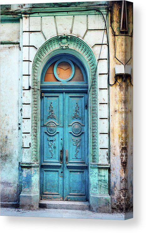 Old Blue Door In Havana, Cuba Canvas Print / Canva