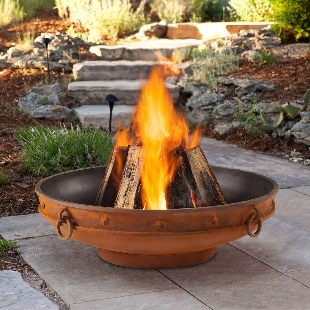 Real Flame Windham 39 In Wood Burning Steel Fire Pit 970 The Home Depot Outdoor Fire Pit Outdoor Fire Wood Burning Fire Pit