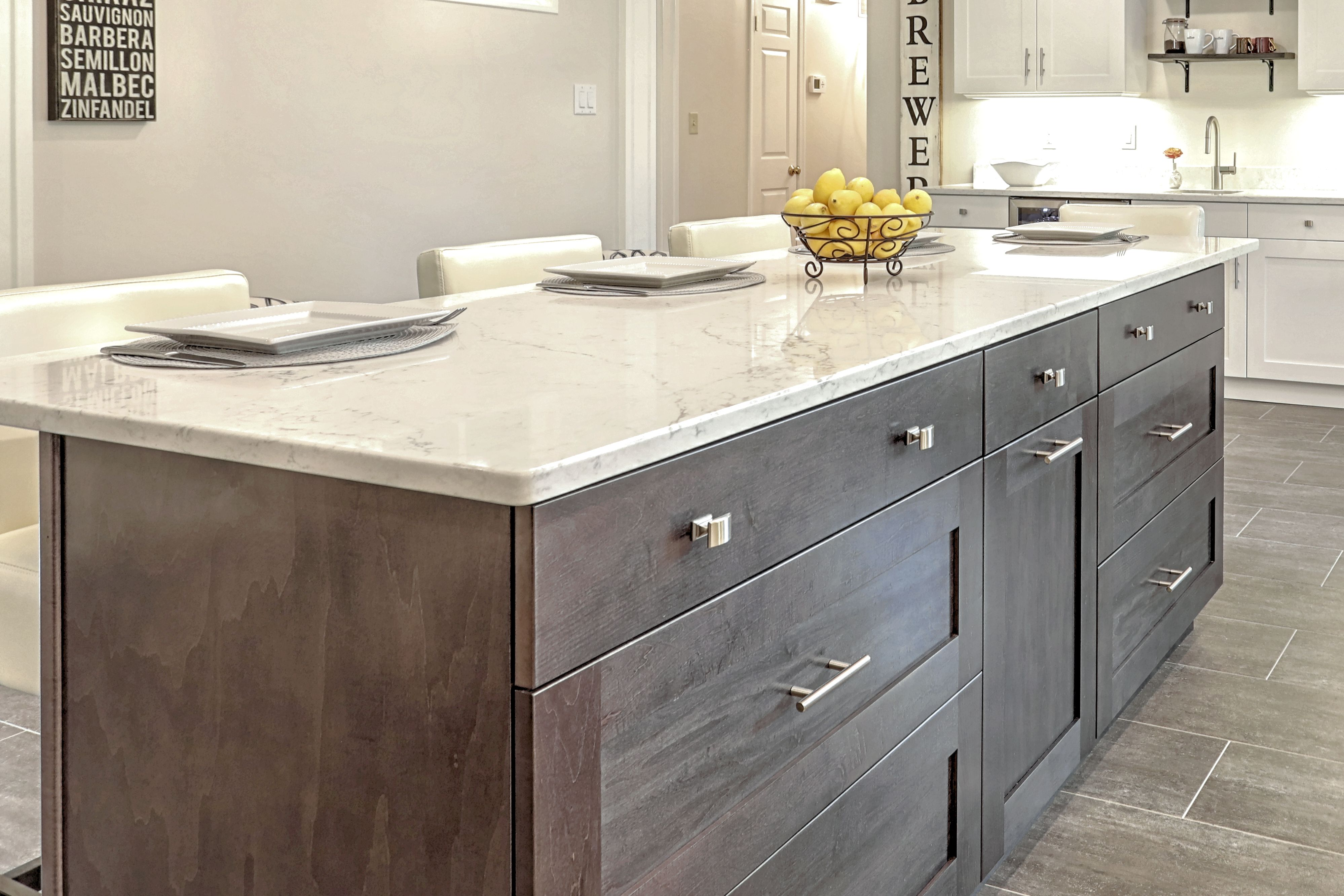 Whale grey stained island with Viatera Quartz Countertop
