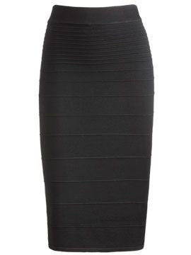 I want a black calf-length pencil skirt that isn't a million ...