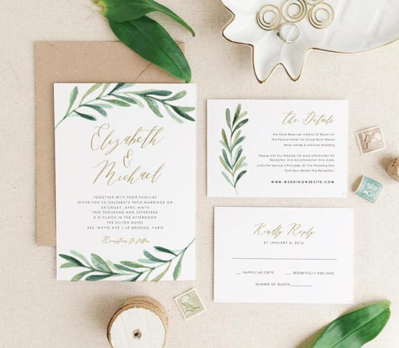 Greenery Wedding Invitation Template, Printable Wedding Invitations - free printable wedding invitation templates for word