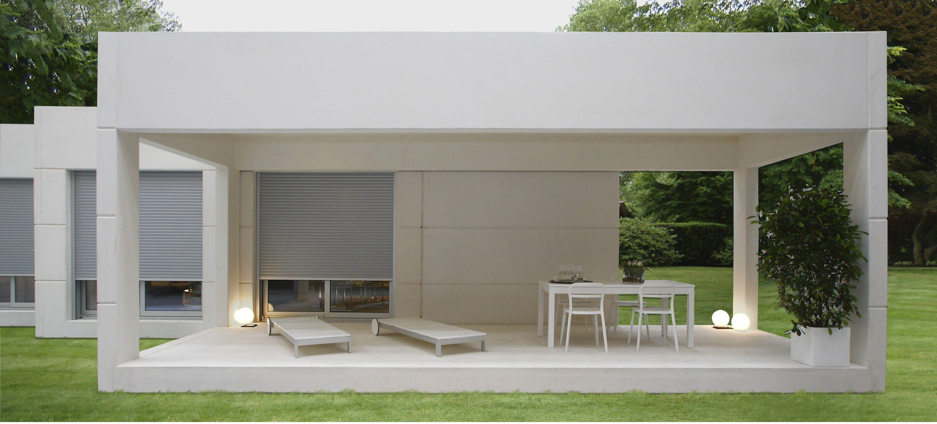 Detalle del m dulo porche de jard n de aplihorsa modular casas modulares exterior - Vivienda modular hormigon ...