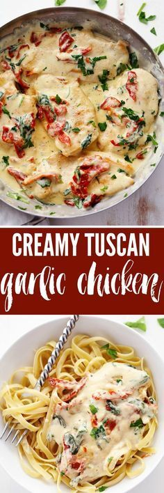 Tuscan Garlic Chicken has the most amazing creamy garlic sauce with spinach and sun dried tomatoes. This meal is a restaurant quality meal ready in 30 minutes!