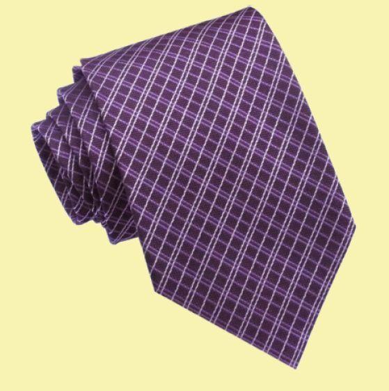 Grape Purple White Diagonal Crosshatch Formal Wedding Straight Mens Neck Tie