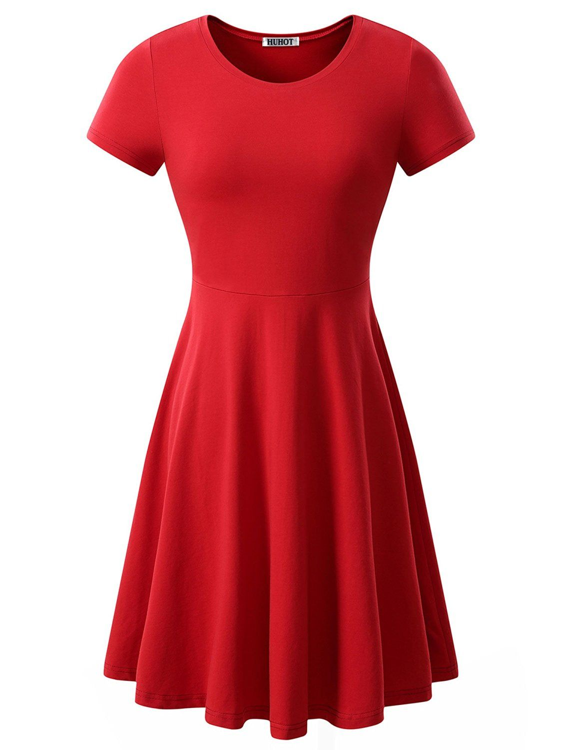 Christmas dress casual - Women Short Sleeve Round Neck Summer Casual Flared Midi Dress See This Awesome Image