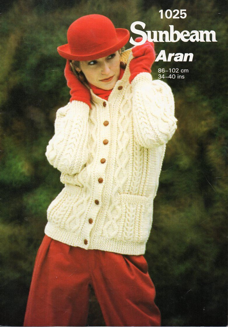 Vintage Ladies Aran Jacket Knitting Pattern Pdf Womens Cable Collar