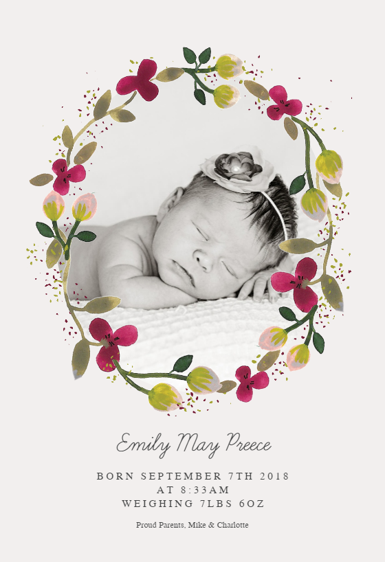 floral happiness announcement template customize add text and