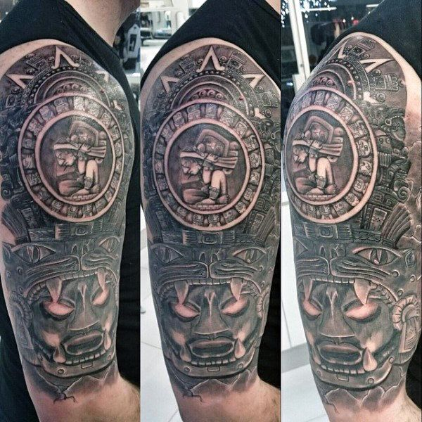 mayan calendar face outline - Google Search | Tatuagem ... |Mayan Tattoo Color